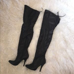 Thigh high black faux leather boots